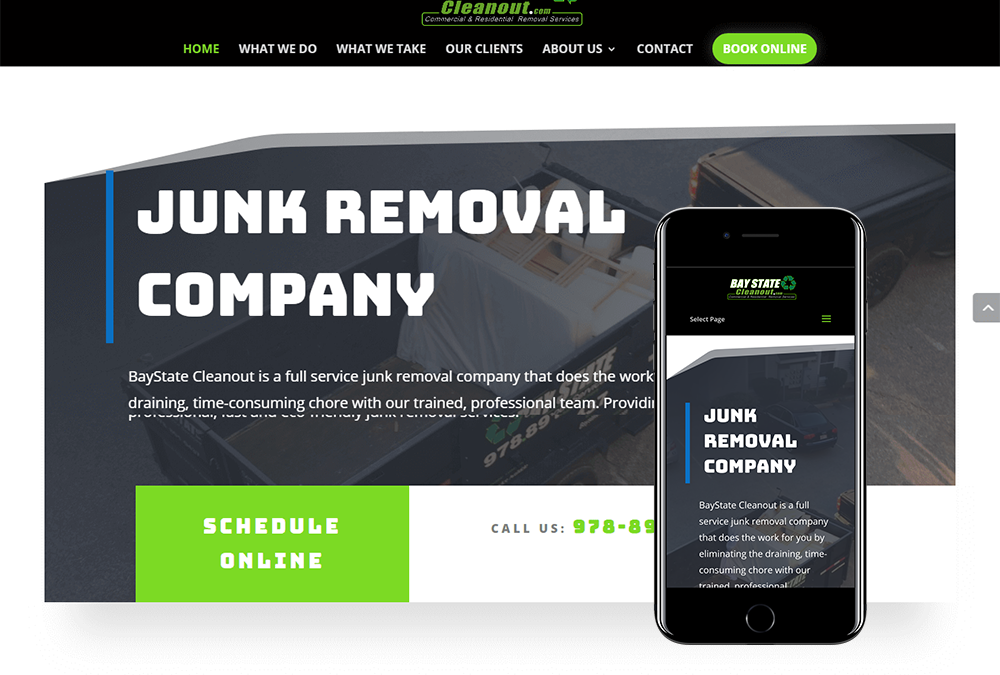 Junk Removal Web Design Launch for BayState Cleanout