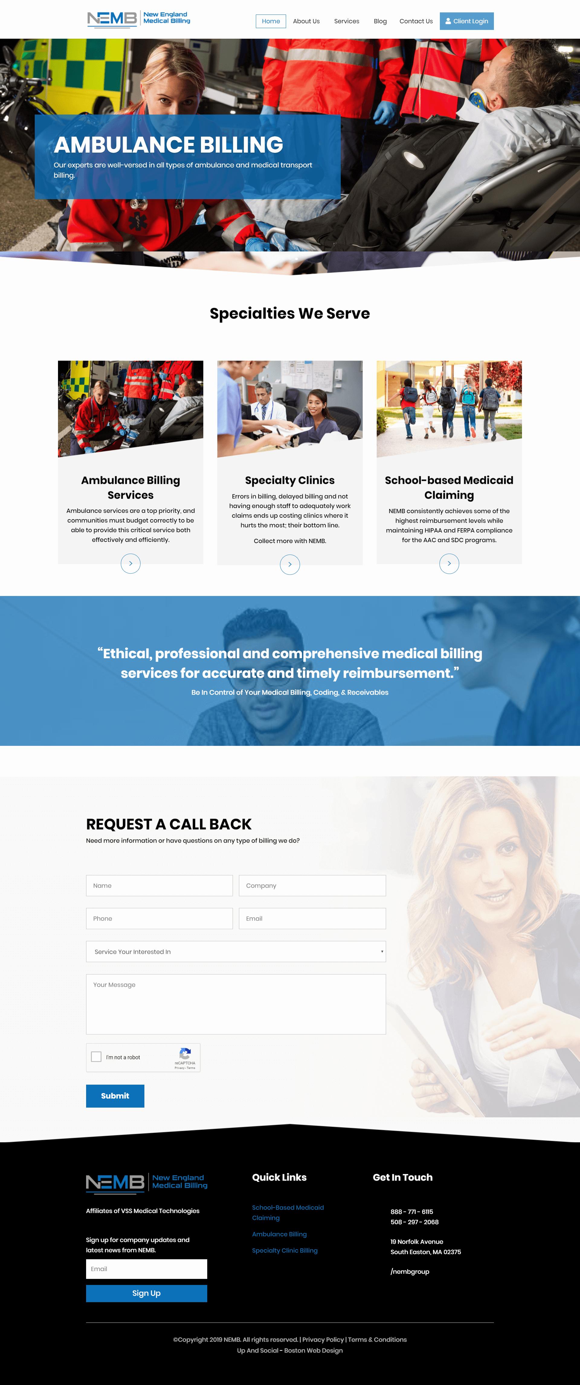 medical billing website design